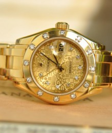 Đồng hồ Rolex 18kt Gold Ladies Pearlmaster Silver Jubilee Diamond 80318 SANT BLANC.