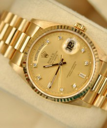 Đồng hồ Nam Rolex Champagne President Day-date 36 Yellow Gold Tapestry Dial Mens 18078