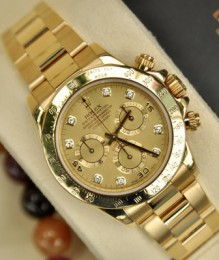Đồng hồ Rolex 116528 Cosmograph Daytona Champagne Diamond Dial Watch Size 40mm